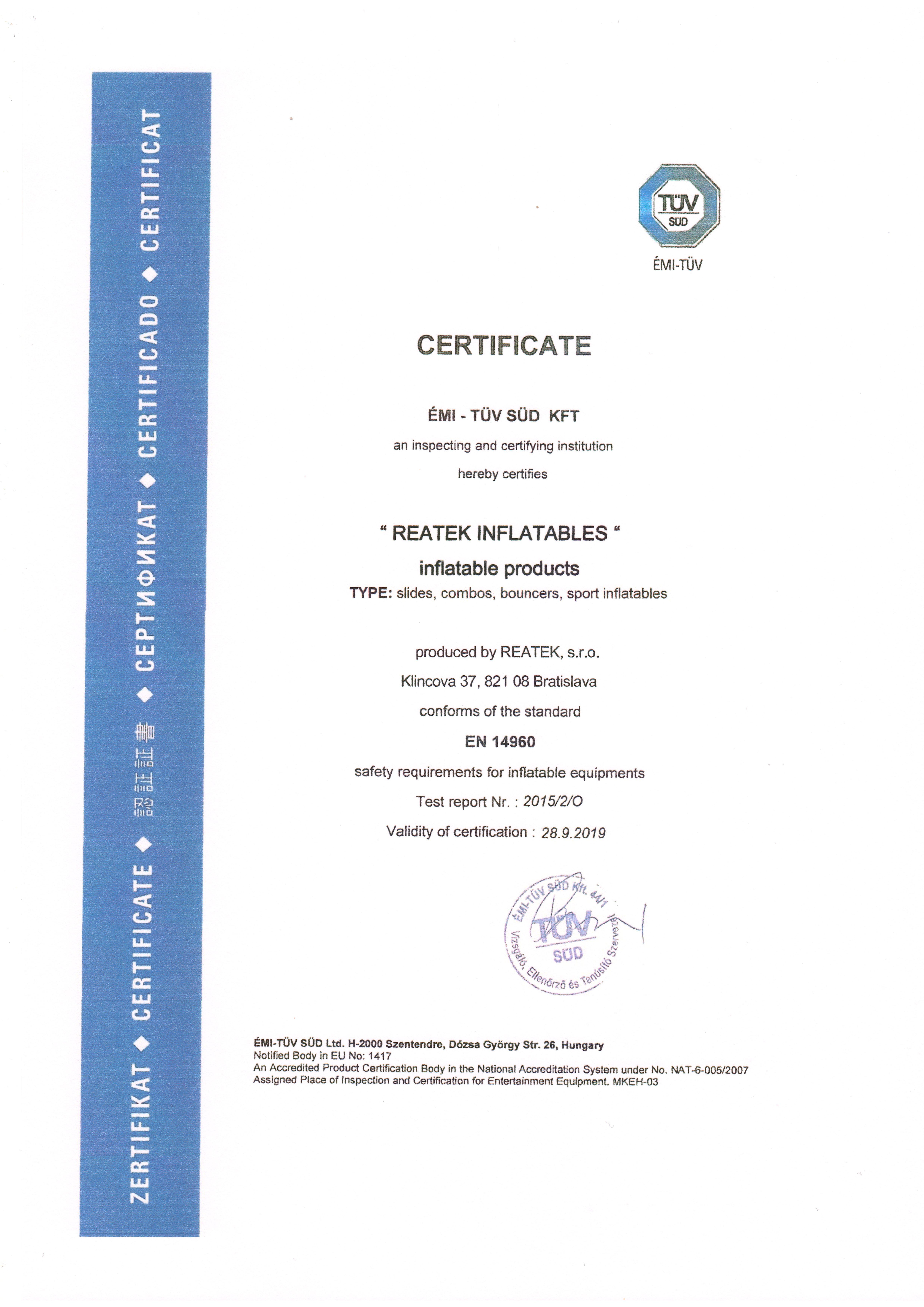 Certifikát TÜV